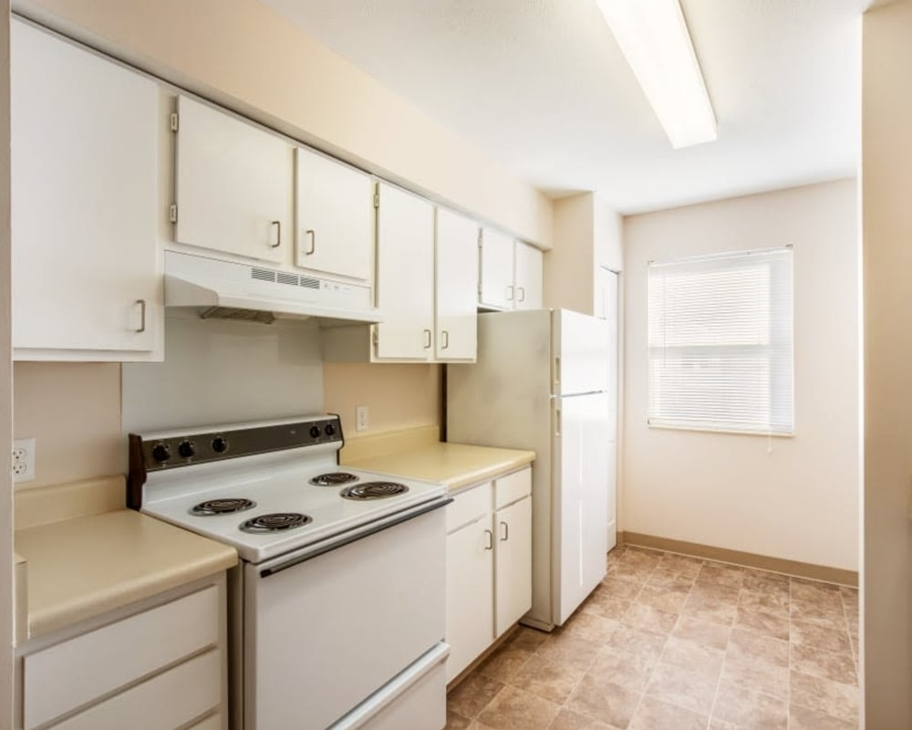 Kitchen highlights at Arbor Crossings Apartments in Muskegon, Michigan