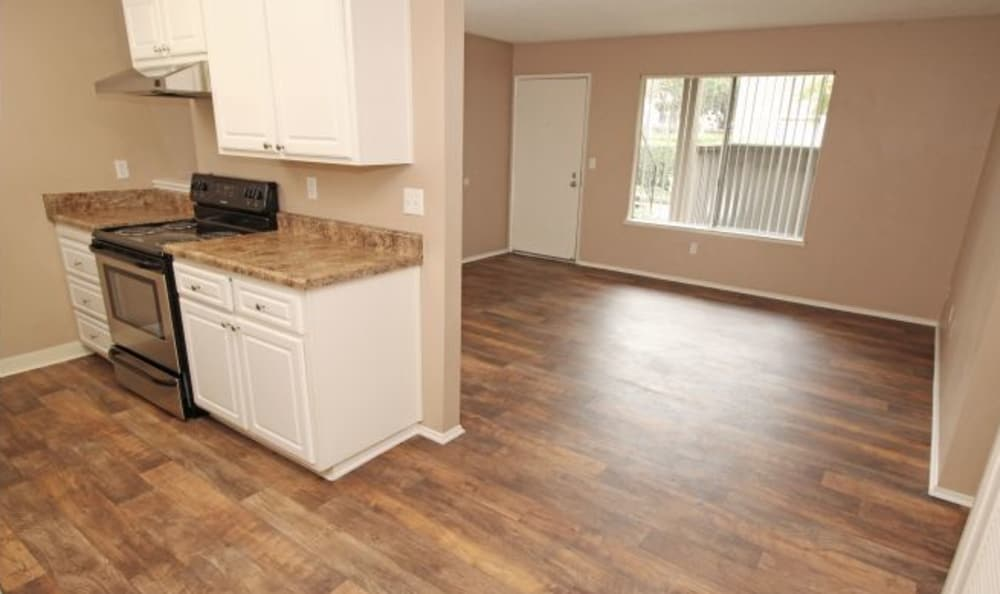 The Woodlands Apartments Kitchen & Living room, stainless steel appliances