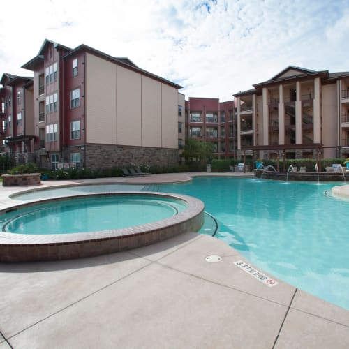 Spa and swimming pool area at Olympus Katy Ranch in Katy, Texas