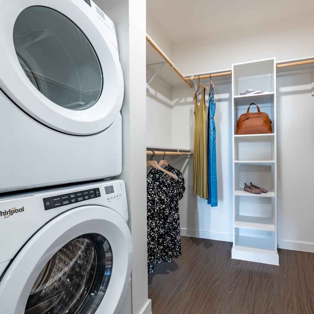 Ample closet space with in home washer and dryer at The Langford in Dallas, Texas