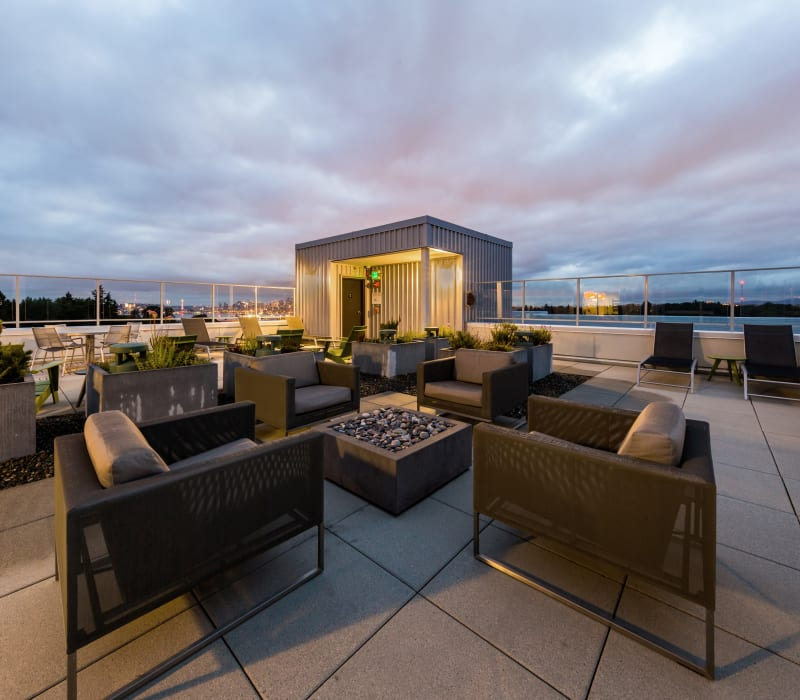Community rooftop outdoor lounge at Marq West Seattle in Seattle, Washington