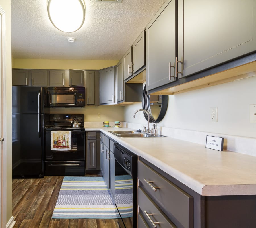 Modern kitchen at Castlegate Commons Apartments