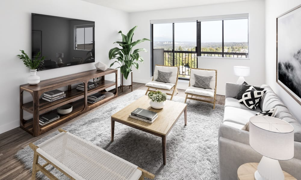Model living room with area rug at Panarama Tower in Burnaby, British Columbia