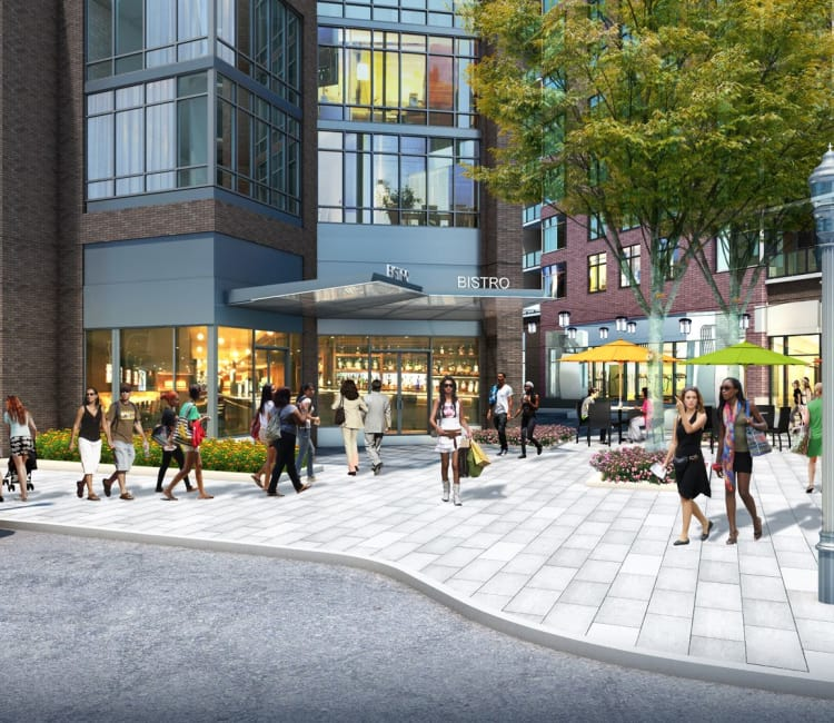 Rendering of street level with retail shops at Gallery Bethesda II in Bethesda, MD