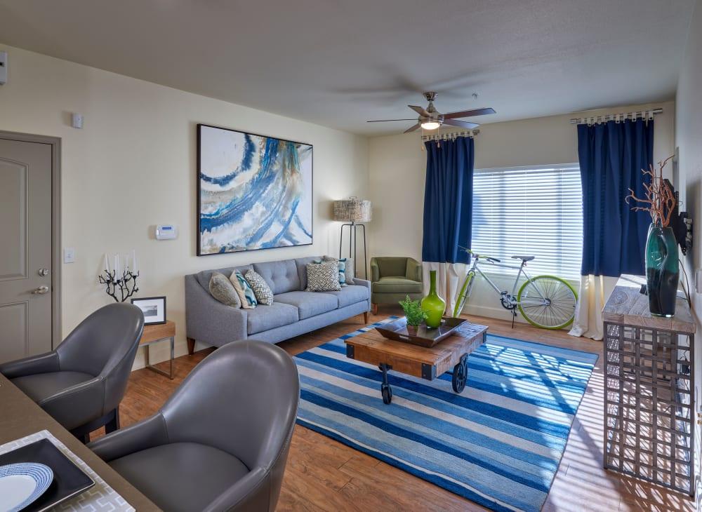 Sleek modern décor in an apartment at M2 Apartments in Denver, Colorado