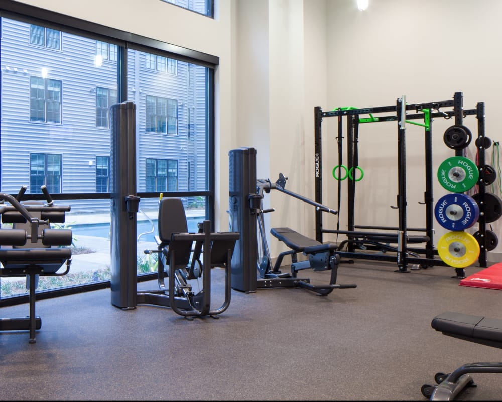 Our modern fitness center at The Paramount at South Market in New Orleans, Louisiana