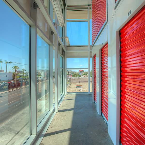 Indoor units with red doors at StorQuest Self Storage in Miami, Florida