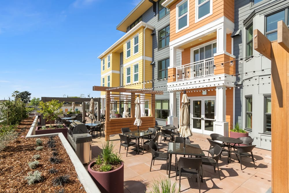 Patio at our senior living community in Oakland