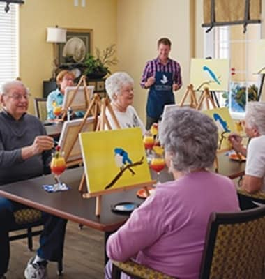 Art activity at our senior living community in Burr Ridge, IL