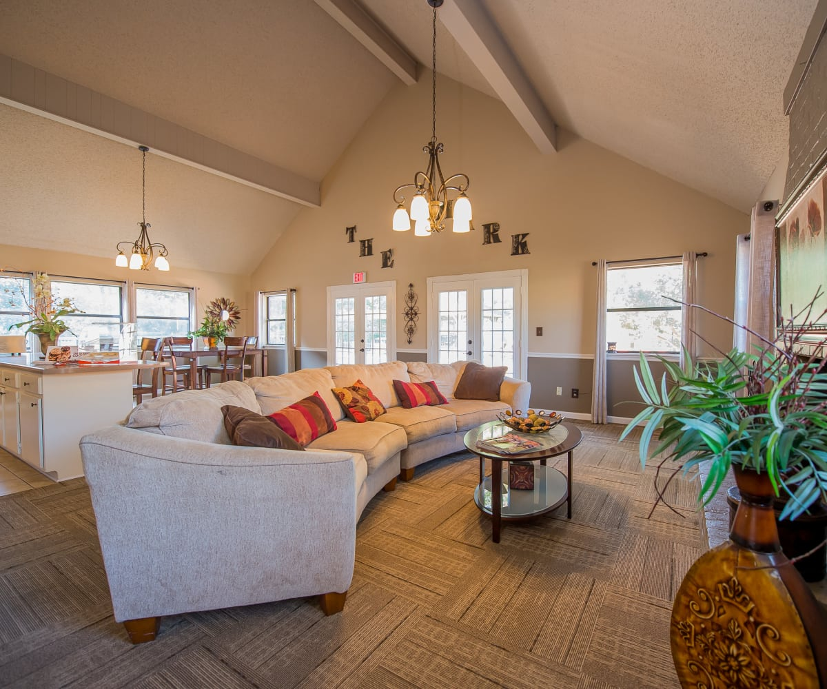 Clubhouse with high ceilings at The Mark Apartments in Ridgeland, Mississippi