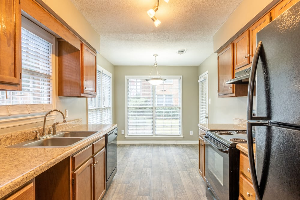 Wood flooring in a model kitchen at The Gatsby at Midtown in Montgomery, Alabama