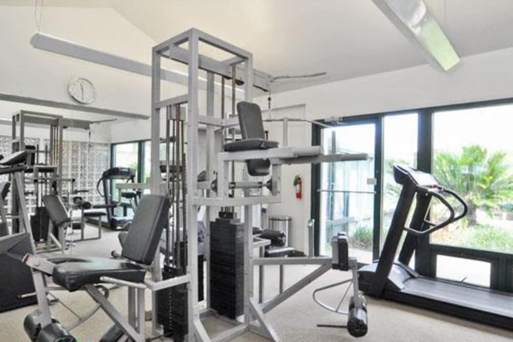Stay healthy in the French Colony Apartments fitness center in Lafayette, Louisiana