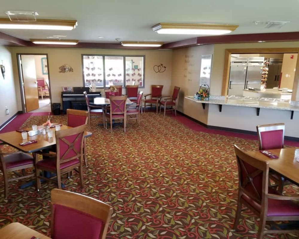 Spacious resident dining room at Manning Senior Living in Manning, Iowa.