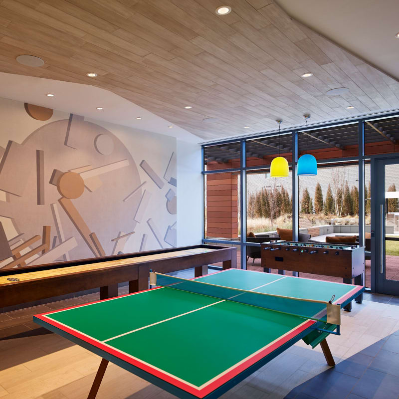 Game room in the clubhouse at Solaire 8250 Georgia in Silver Spring, Maryland