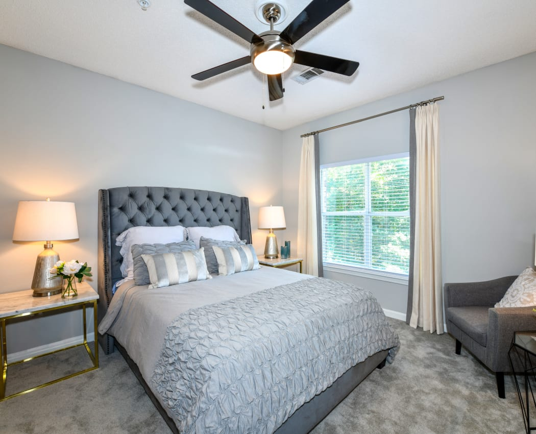 Bright inviting bedroom at 860 South in Stockbridge, Georgia