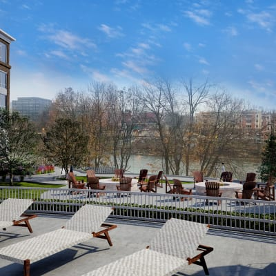 A sunny day on the patio at 50 Front Luxury Apartments in Binghamton, NY