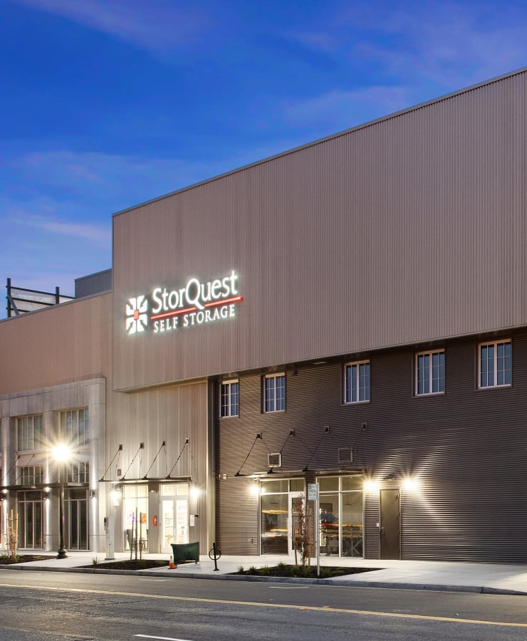 The exterior of the main entrance at StorQuest Self Storage in Sacramento, California