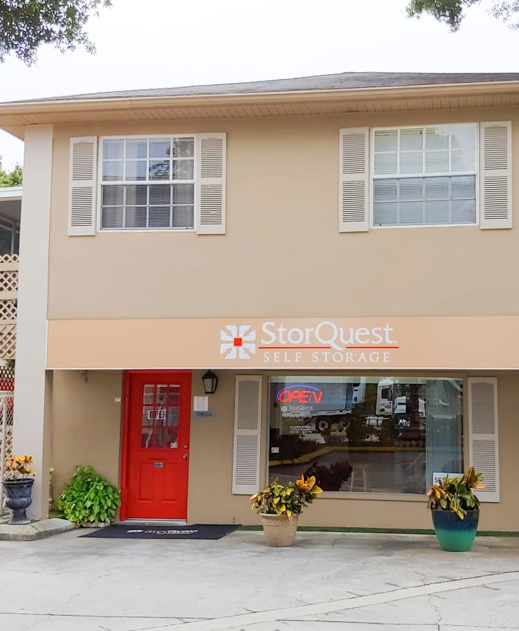 Exterior of the leasing office at StorQuest Self Storage in Tampa, Florida