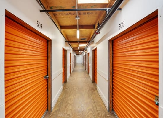 Many sizes of storage units in this hallway at A-1 Self Storage in El Cajon, California