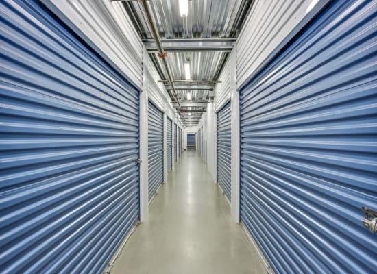 Clean hallways through self storage units at A-1 Self Storage in Lake Forest, California