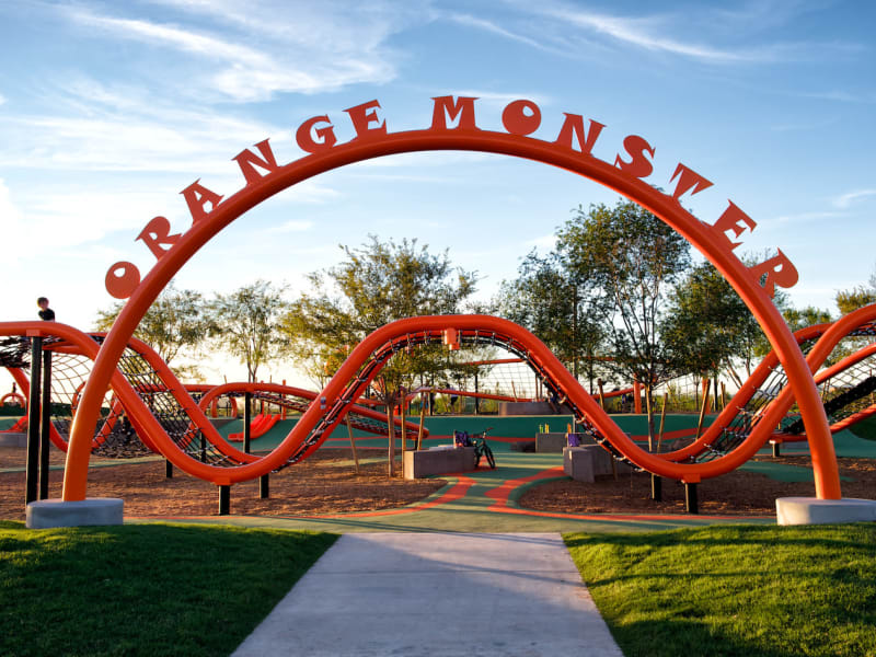 Orange Monster playground for children at BB Living at Eastmark in Mesa, Arizona