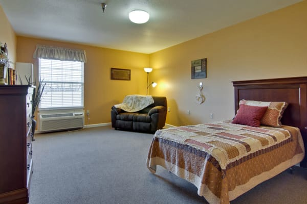 Large Assisted living apartment bedroom at Autumn Oaks in Manchester, Tennessee