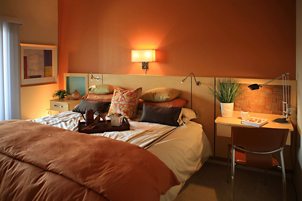 Model master bedroom at Sage Luxury Apartment Homes in Phoenix, Arizona
