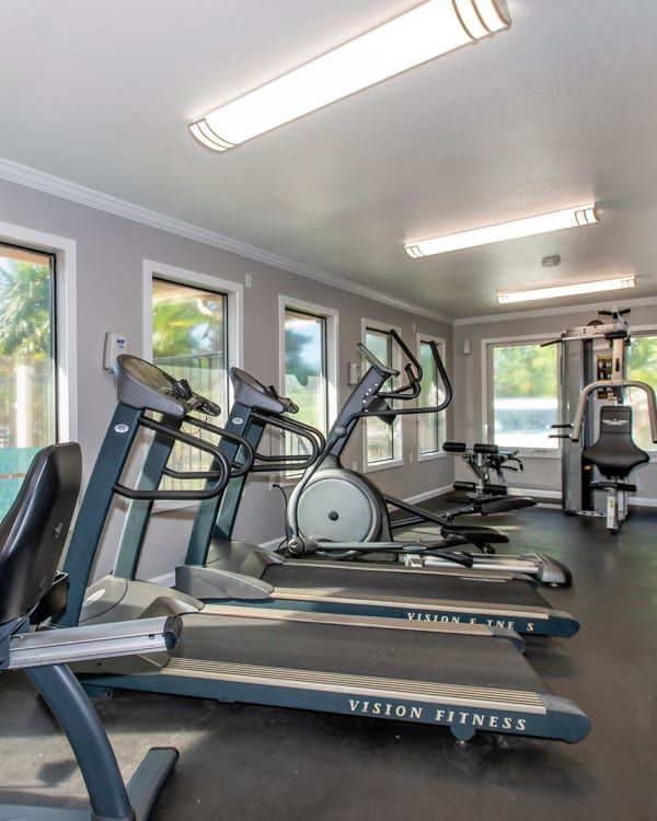 Superb fitness center with cardio machines looking out large windows at the pool area at Sommerset Apartments in Vacaville