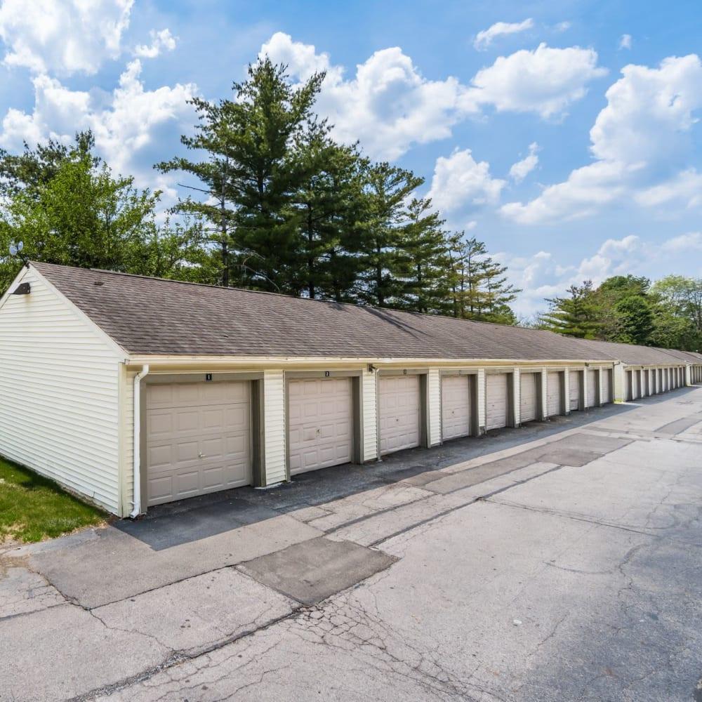 Row of garages at Hidden Acres East in Columbus, Ohio