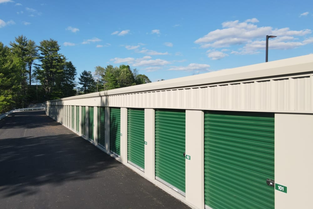 A row of storage units at 603 Storage - Belmont in Belmont, New Hampshire