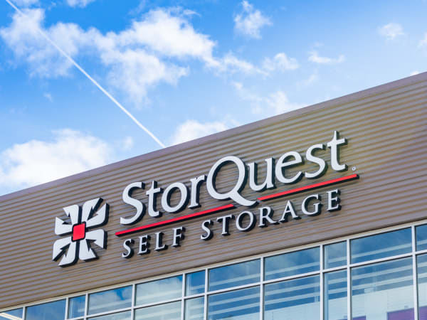 Outdoor view of StorQuest sign near StorQuest Self Storage in Bothell, Washington
