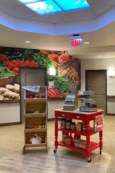 Produce stand in a themed hallway at Quail Park at Shannon Ranch in Visalia, California