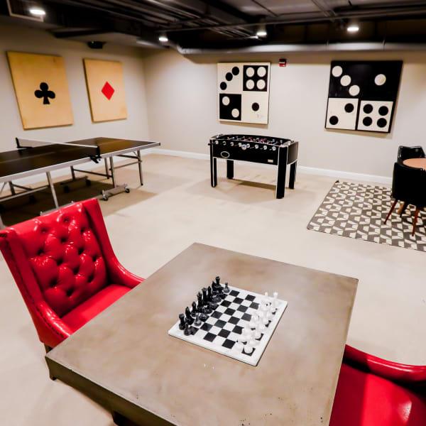 Game room at Halcyon House in Denver, Colorado