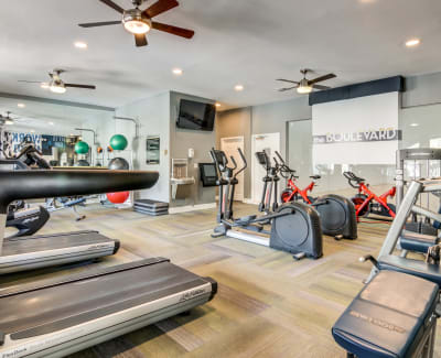Well-equipped fitness center at The Boulevard in Phoenix, Arizona