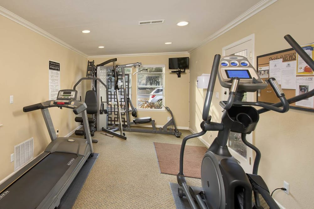Fitness center at Seventeen Mile Drive Village Apartment Homes in Pacific Grove, California