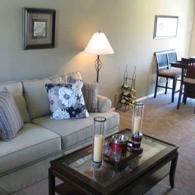 Modern living room at Commons at White Marsh Apartments in Middle River, MD