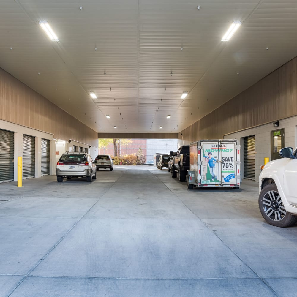 The breezeway at Cubes Self Storage in Draper, Utah