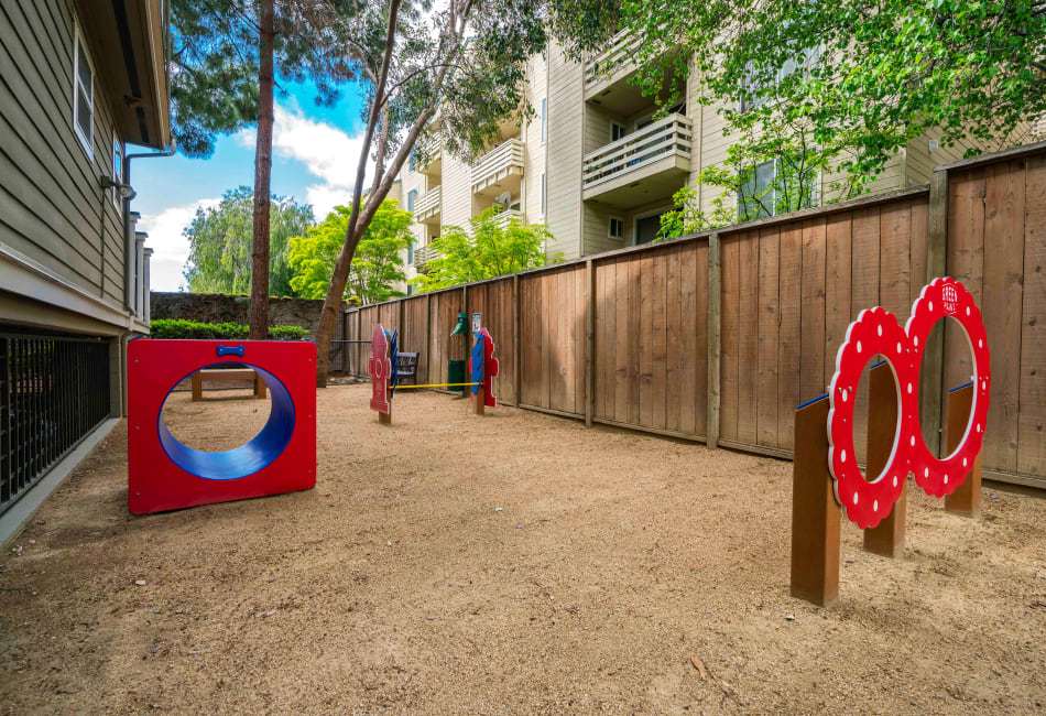Dog park agility equipment at Sofi Sunnyvale in Sunnyvale, California