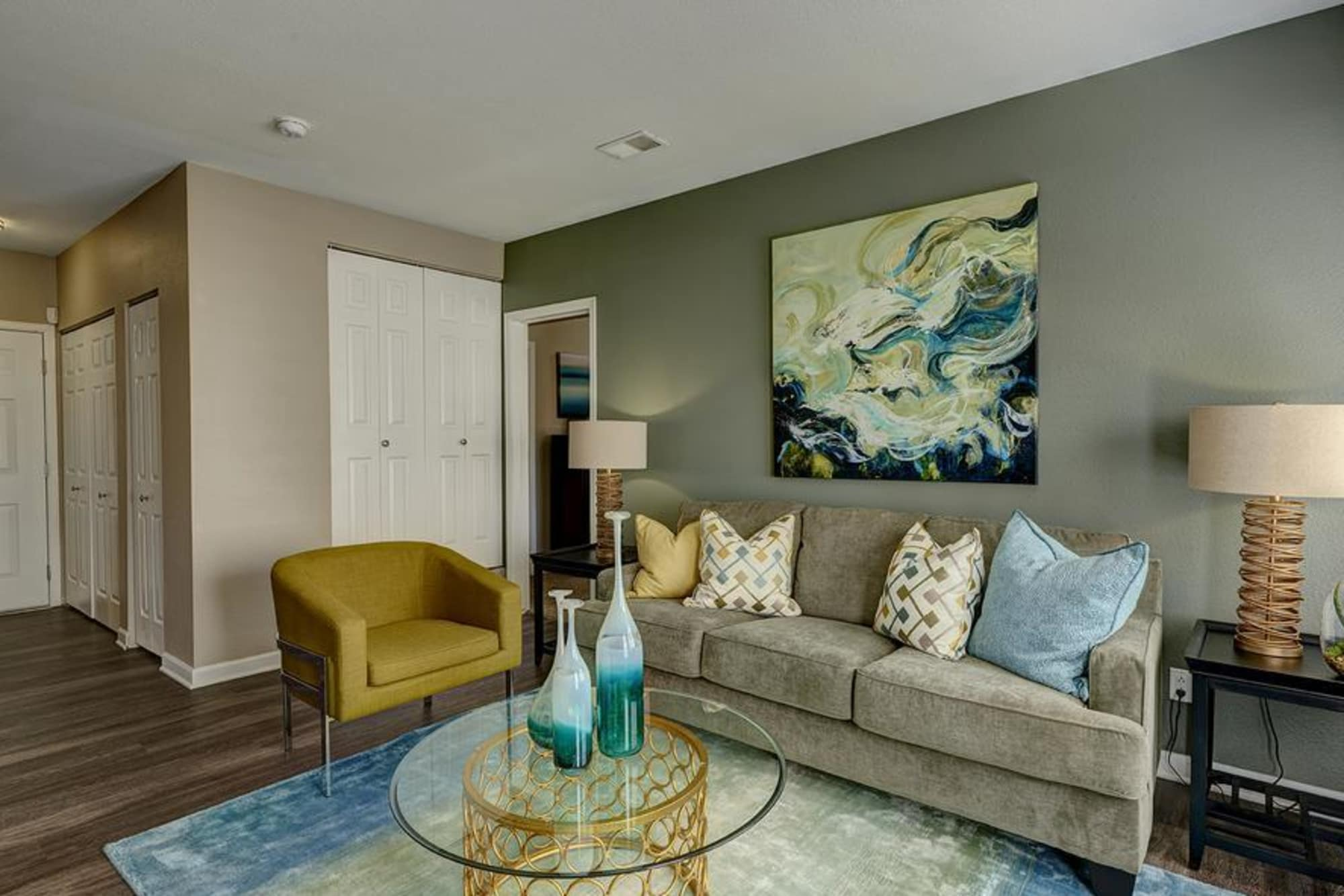 Furnished Living Room in our floor plans at Villas at Homestead Apartments
