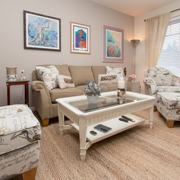 Inside of a furnished senior home at Quail Park of Lynnwood in Lynnwood, Washington