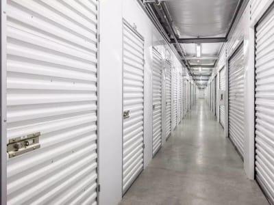 Hallway of storage units at StorQuest Self Storage in Federal Way, Washington