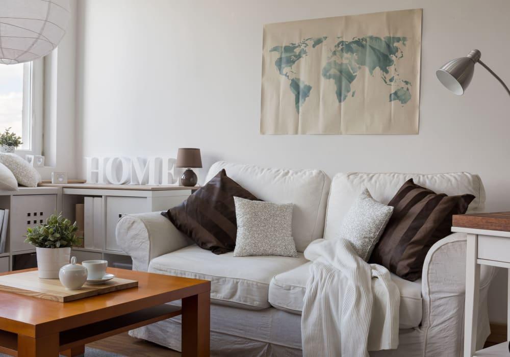 Bright living room at Decatur Victoria Estates in Berlin, Maryland