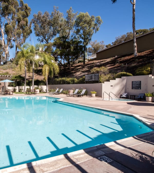 Pool, spa and lounges at Lakeview Village Apartments in Spring Valley