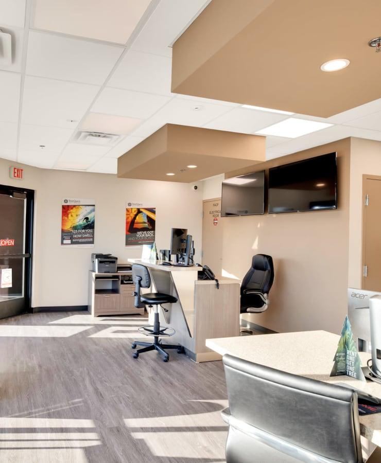 Interior of the leasing office at StorQuest Self Storage in Bermuda Dunes, California