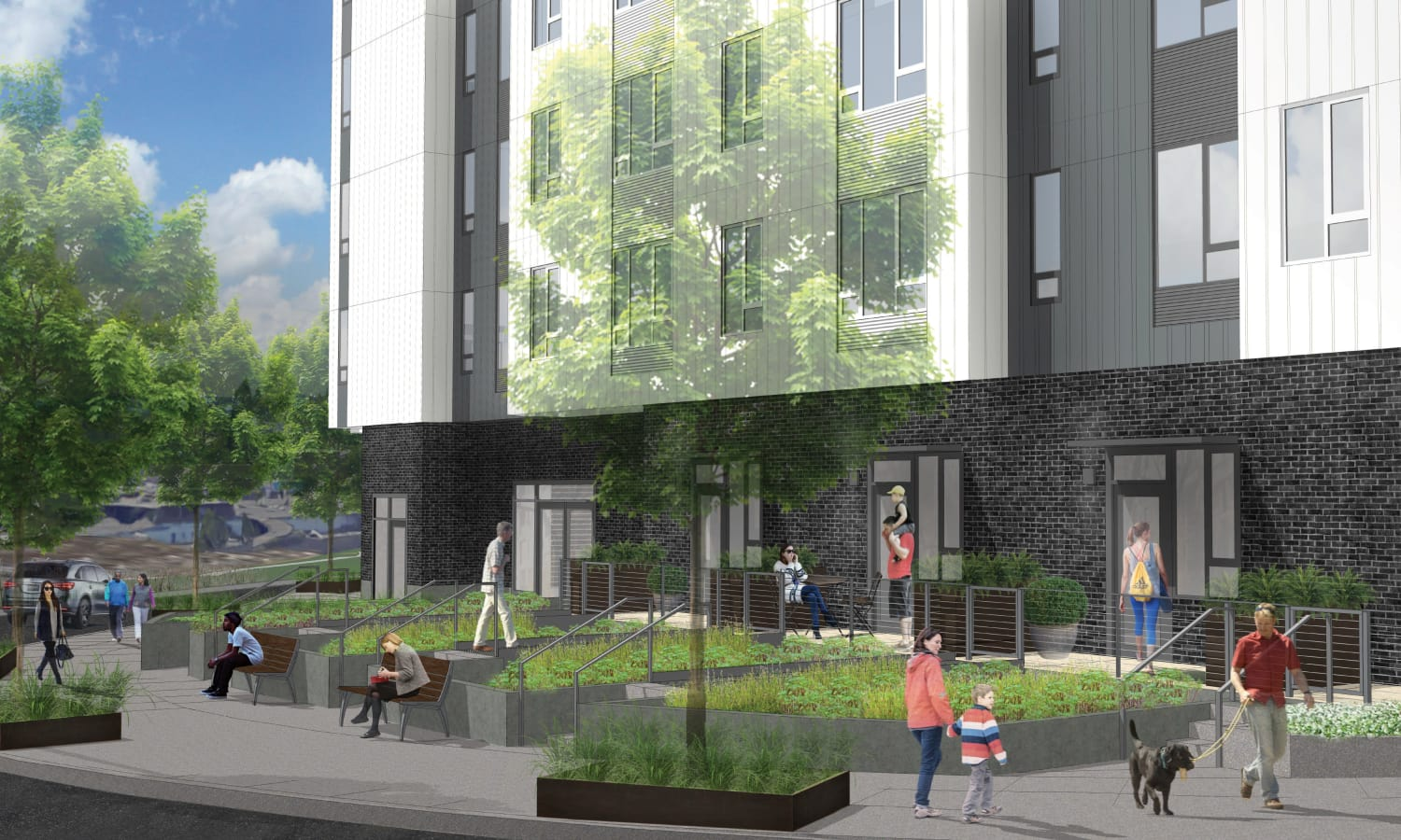 Street view rendering of Grant Park Village - Quimby NE ground-floor units in Portland, OR