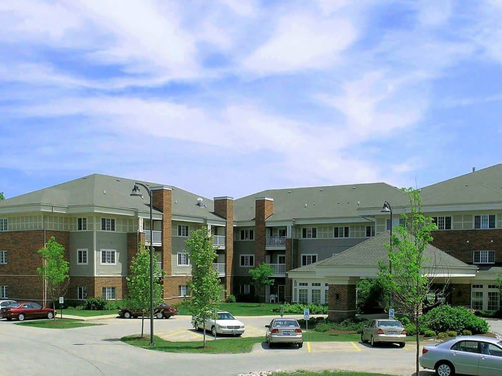 Exterior of senior living apartments at Randall Residence of McHenry in McHenry, Illinois