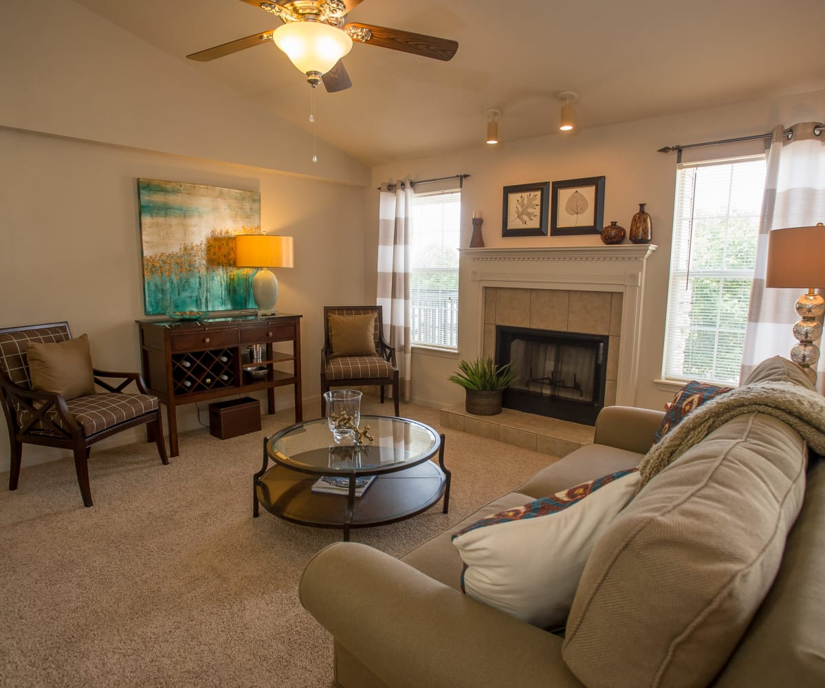 Beautiful living room at Villas at Stonebridge in Edmond, Oklahoma