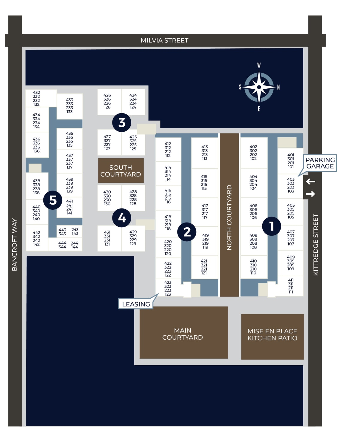 Community site map for K Street Flats Apartment Homes in Berkeley, California