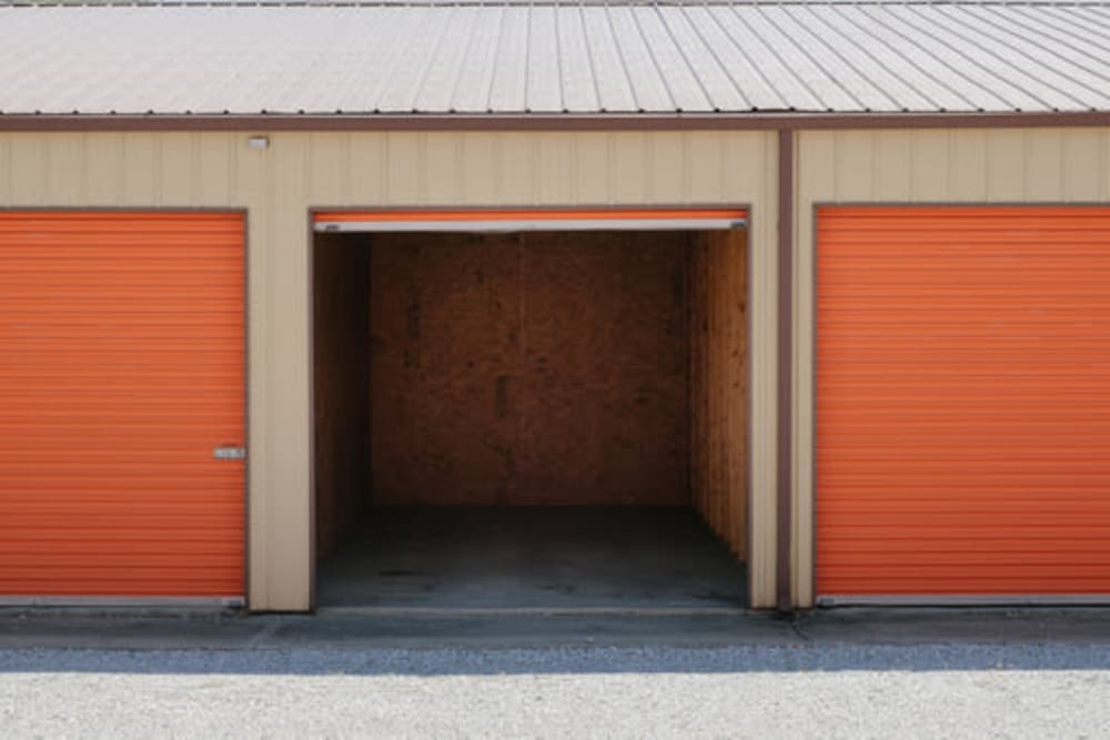 Garage style roll up doors on self storage units at StayLock Storage in Kouts, Indiana