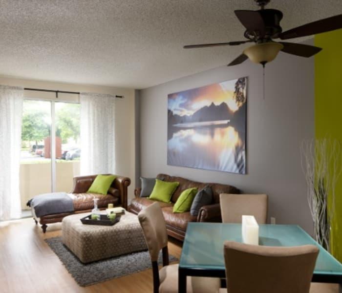 Living room in model home at Aliro Apartments in North Miami, FL